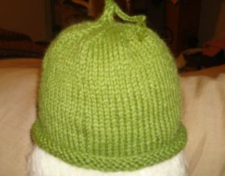 green-baby-hat
